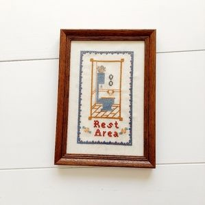 80s cross stitch bathroom framed